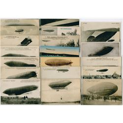 Collection of French Military Airship Postcards, ca. 1890-1930