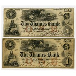 Thames Bank Obsolete Pair from different Locations 1856. Pair of Obsolete Notes.