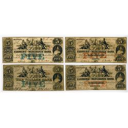 Farmers' and Merchants Bank, The Village Bank. 1864 Obsolete Banknote Quartet.