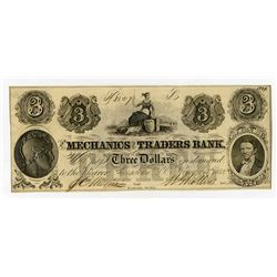 Mechanics and Traders Bank 1852 Obsolete Banknote.