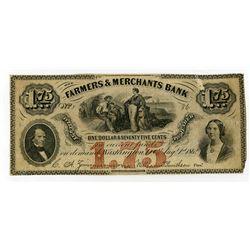 Farmers & Merchants Bank 1862 $1.75 Obsolete Banknote.