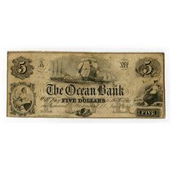 Ocean Bank. 1852 Obsolete Banknote.