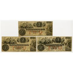 Manufacturers Bank 1854 Trio of Obsolete Banknotes From Georgetown, D.C.; Birmingham, CT; and Provid