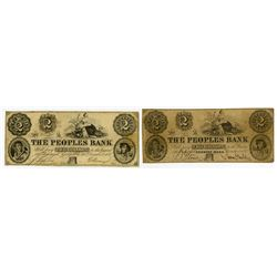 Peoples Bank. 1852. Pair of Obsolete Notes.
