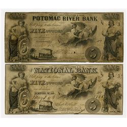 Georgetown, D.C., Potomac River Bank; and Boston, MA. The National Bank. 1858 Obsolete Banknote Pair