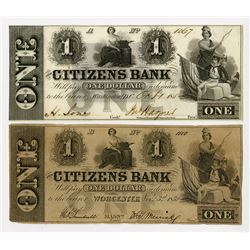 Citizens Bank 1862 Pair from Washington, D.C, and Worcester, MA. 1852 Obsolete Banknote Pair.