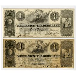Mechanics and Traders Bank, Georgetown, D.C. and One from New York, NY. 1852 Obsolete Banknote Pair.