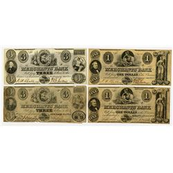 Merchants' Bank. 1859. Quartet of Obsolete Notes.