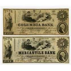 Columbia Bank, The Mercantile Bank. 1852 Obsolete Banknote Pair.