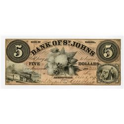 Bank of St. Johns 1859 Obsolete Banknote.