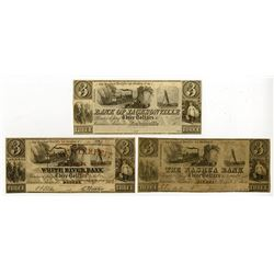 Bank of Jacksonville, The Nashua Bank, White River Bank. 1833. Trio of Obsolete Notes.