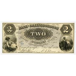 Bank of Greensborough 1858 Obsolete Banknote.