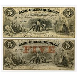 Bank of Greensborough. 1858 Obsolete Banknote Pair.