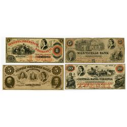 Florence Nightingale Vignetted Obsolete Banknote Quartet, ca.1860-61, All ABN Issues.