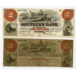 GA., Southern Bank of Georgia & MD., Bank of Commerce. 1862 Obsolete Banknote Pair.