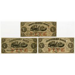 Obsolete Banknote Trio, ca.1862 with Similar Designs but Different Banks.