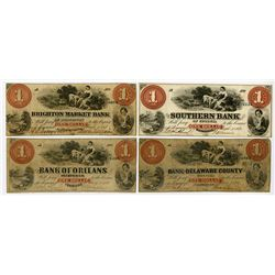 Georgia, Massachusetts, Pennsylvania & Vermont 1861 Obsolete Banknote Quartet, All with the same des