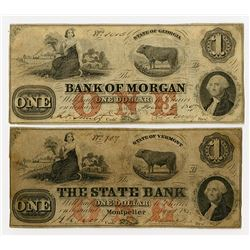 Bank of Morgan, The State Bank. 1857 Obsolete Banknote Pair.