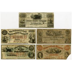 Mid-West Obsolete Banknote Quintet, ca.1840-60.