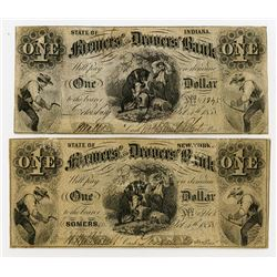 Farmers' and Drovers' Bank Obsolete Banknote Pair from New York and Indiana. 1858 Obsolete Notes.
