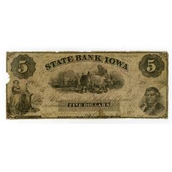 State Bank of Iowa 1859-60's Obsolete Banknote.