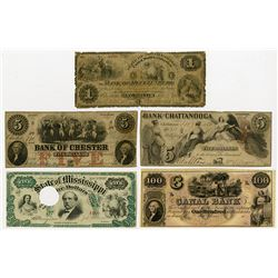 Southern Obsolete Banknote Assortment, ca.1840-60's.