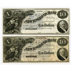 New England Bank. 1855 Obsolete Banknote Pair.