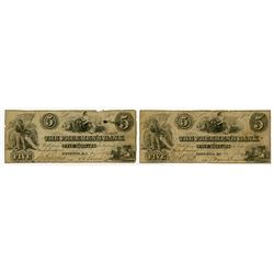 Freemen's Bank. 1857 Obsolete Banknote Duo.