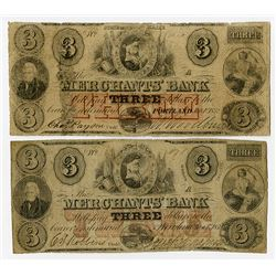 Providence, RI.; and Portland, ME., Merchants' Bank. 1859 Obsolete Banknote Pair.