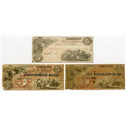 Greenfield Bank, The Rockland Bank. 1861. Trio of Obsolete Notes.