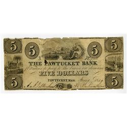 Pawtucket Bank. 1849. Obsolete Banknote.