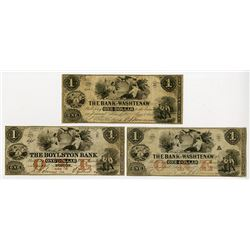 Boylston Bank (Haxby Plate Note) & The Bank of Washtenaw 1854 Trio of Obsolete Banknotes