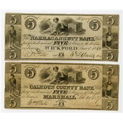 Marshall, MI., Calhoun County Bank; and Wickford, RI., Narragansett Bank. 1837 Obsolete Banknote Pai
