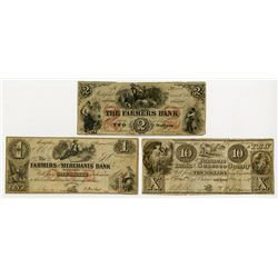 Farmers Bank 1854 Obsolete Banknote Trio.