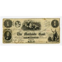 Merchants Bank 1854 Obsolete Banknote.