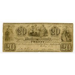 Bank of Madison County  1838 Obsolete Banknote.