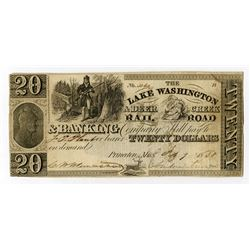 Lake Washington & Deer Creek Rail Road & Banking Co 1838 Obsolete Banknote.