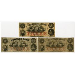 Waubeek Bank, The Danvers Bank, The Peoples Bank . 1857. Trio of Obsolete Notes.