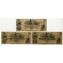 Waubeek Bank, The State Bank, The Traders Bank . 1857. Trio of Obsolete Notes.