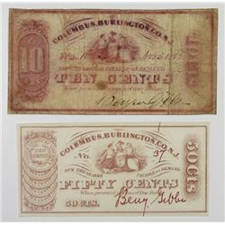Columbus, Burlington, Co. 1862 Obsolete Scrip Note Pair.
