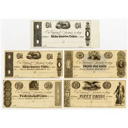 Store at Manchester, Monmouth, Co, NJ. Unknown Issuer. 18xx. Quintet of Obsolete Notes.