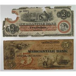 Mercantile Bank. 1862 Obsolete Banknote Pair.