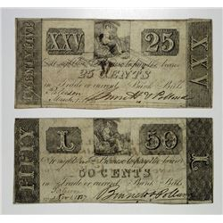 Binnett & Pollard 1837 & 1838 Obsolete Scrip Note Pair.
