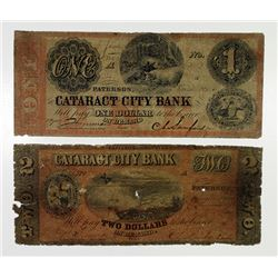 Cataract City Bank1856 Obsolete Banknote Pair.