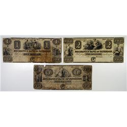 Mechanics' Bank of Paterson 1830's Obsolete Banknote Trio.