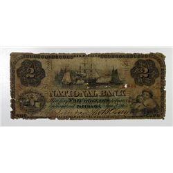 National Bank. 1863. $2 Obsolete Note.