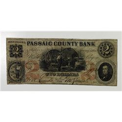 Passaic County Bank. 1852. Obsolete Note.