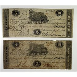 Paterson Bank (First) 1818 Obsolete Banknote Duo.