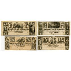 People's Bank of Paterson. 18xx (1820-50's) Obsolete Banknote Quartet.