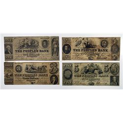 People's Bank. 1851. Quartet of Obsolete Notes.